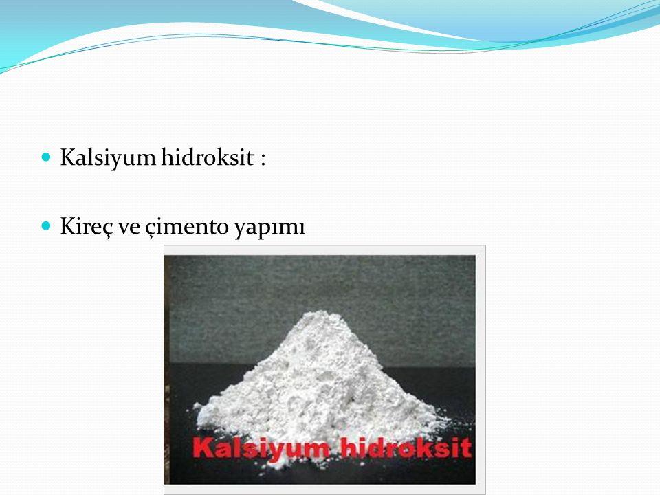 Kalsiyum hidroksit : Kireç ve çimento yapımı