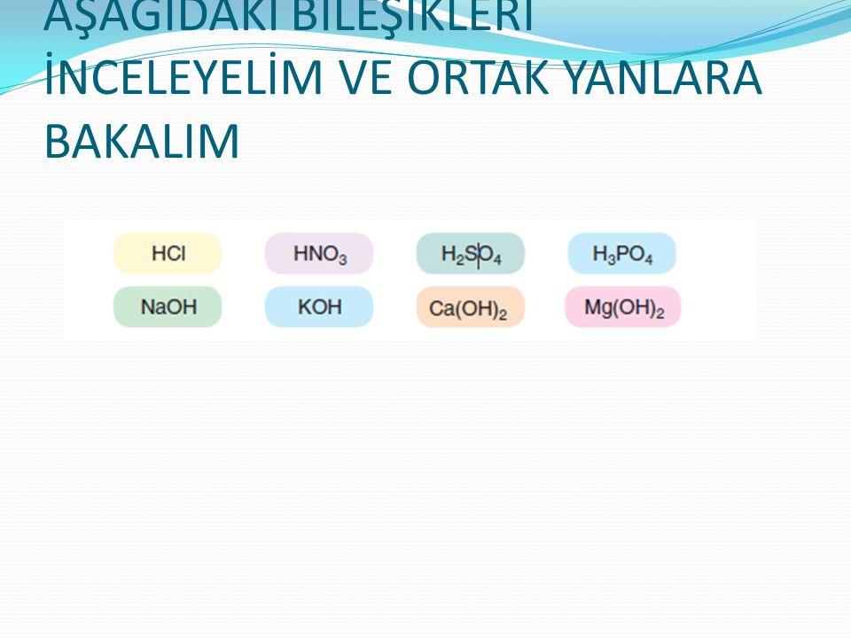 Önemliii .Bileşiklerde H+ ve OH- iyonları ortaktır.