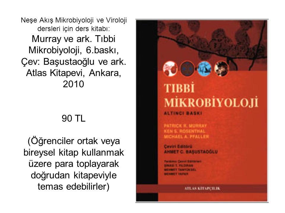 Neşe Akış Mikrobiyoloji ve Viroloji dersleri için ders kitabı: Murray ve ark. Tıbbi Mikrobiyoloji, 6.baskı, Çev: Başustaoğlu ve ark. Atlas Kitapevi, A