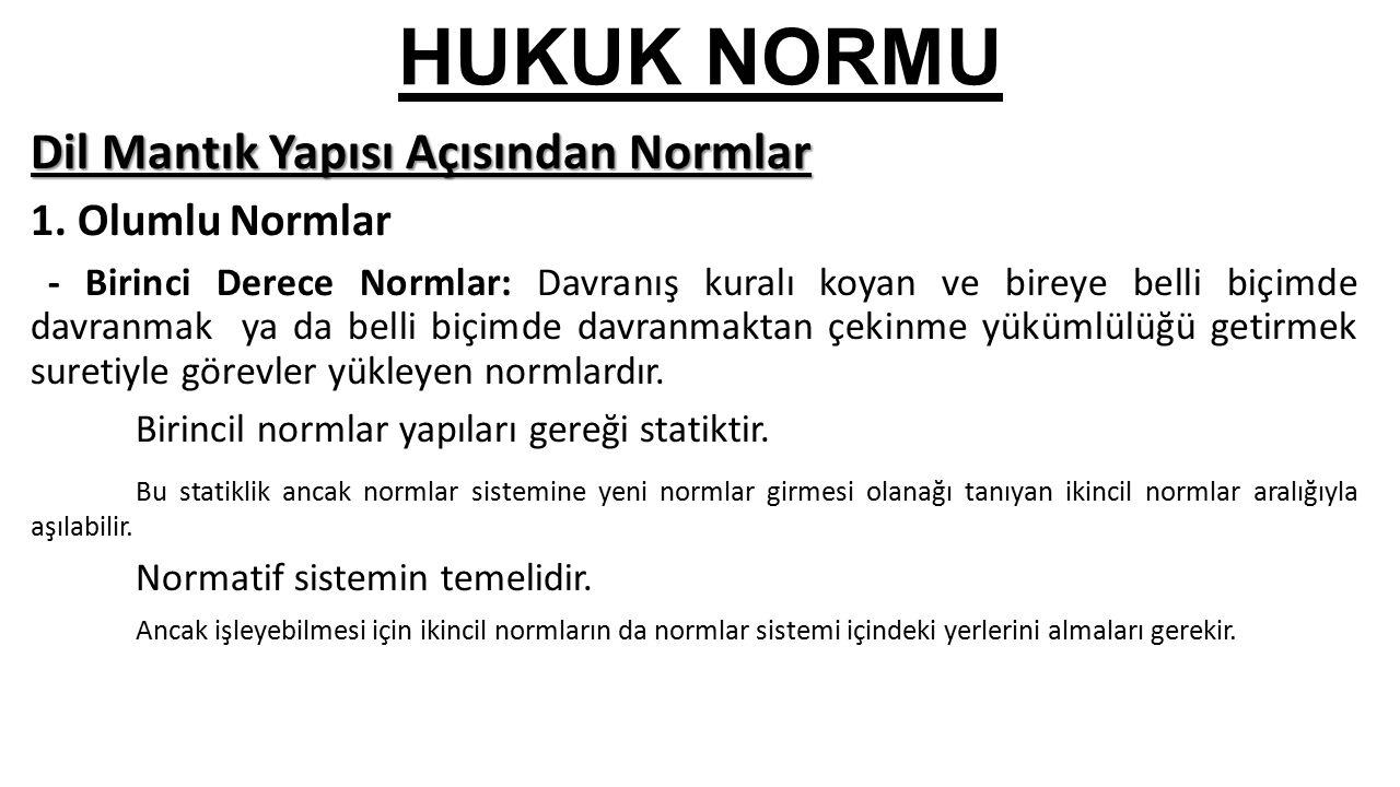 HUKUK NORMU Dil Mantık Yapısı Açısından Normlar 1.