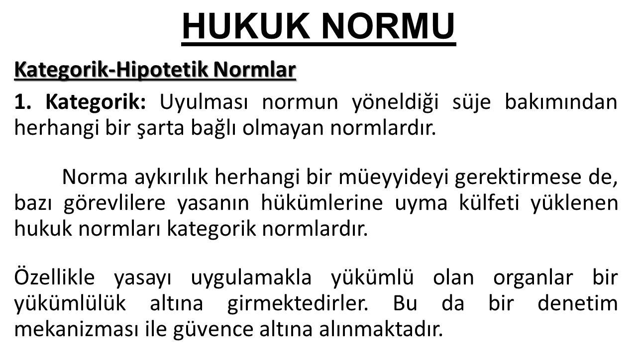 HUKUK NORMU Kategorik-Hipotetik Normlar 1.