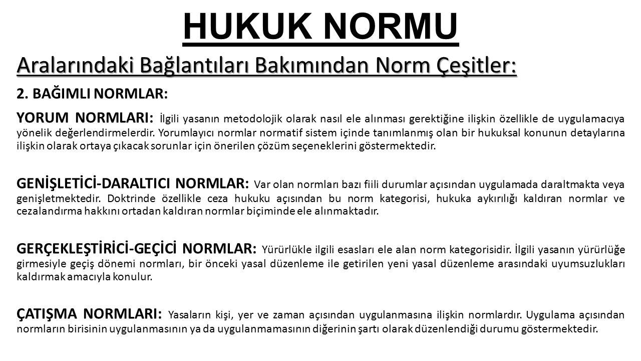 HUKUK NORMU Aralarındaki Bağlantıları Bakımından Norm Çeşitler: 2.