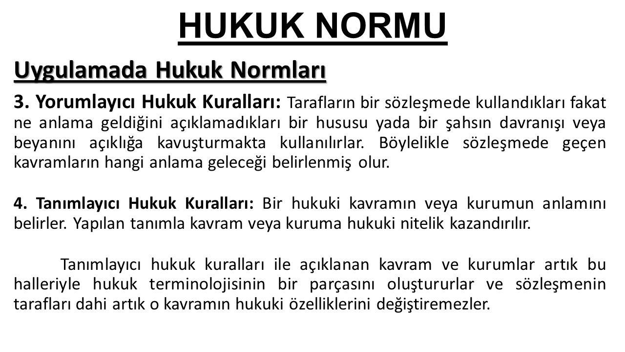 HUKUK NORMU Uygulamada Hukuk Normları 3.