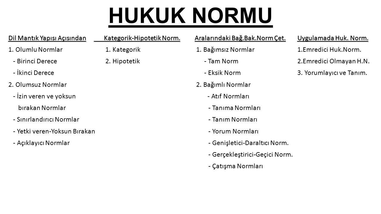 HUKUK NORMU Dil Mantık Yapısı Açısından Kategorik-Hipotetik Norm.Aralarındaki Bağ.Bak.Norm Çet.Uygulamada Huk.