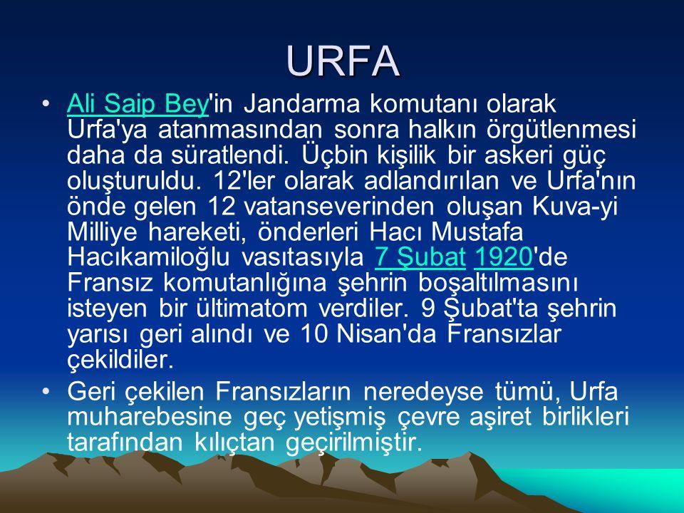 URFA Ali Saip Bey in Jandarma komutanı olarak Urfa ya atanmasından sonra halkın örgütlenmesi daha da süratlendi.