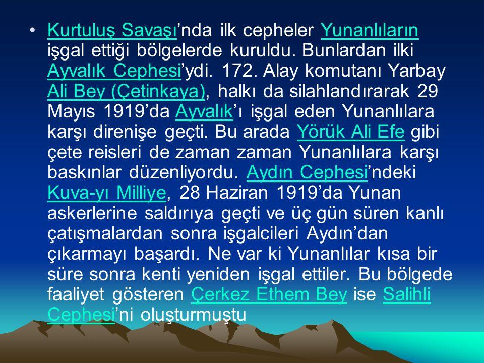 Kurtuluş Savaşı'nda ilk cepheler Yunanlıların işgal ettiği bölgelerde kuruldu.