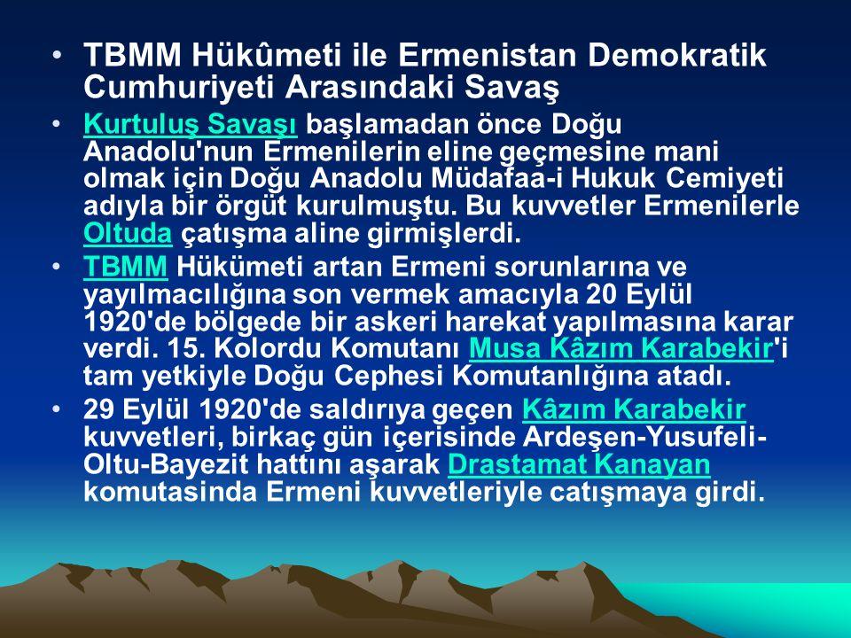 TBMM Hükûmeti ile Ermenistan Demokratik Cumhuriyeti Arasındaki Savaş Kurtuluş Savaşı başlamadan önce Doğu Anadolu nun Ermenilerin eline geçmesine mani olmak için Doğu Anadolu Müdafaa-i Hukuk Cemiyeti adıyla bir örgüt kurulmuştu.
