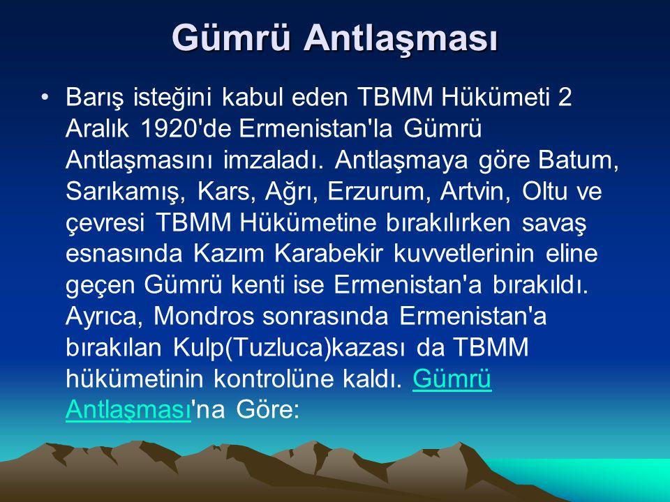 Sevr Antlaşması nın geçersiz olduğu Ermenilerce de benimsenmiştir.Sevr Antlaşması Ermeniler Doğu Anadolu daki her türlü isteklerinden vazgeçmişlerdir.
