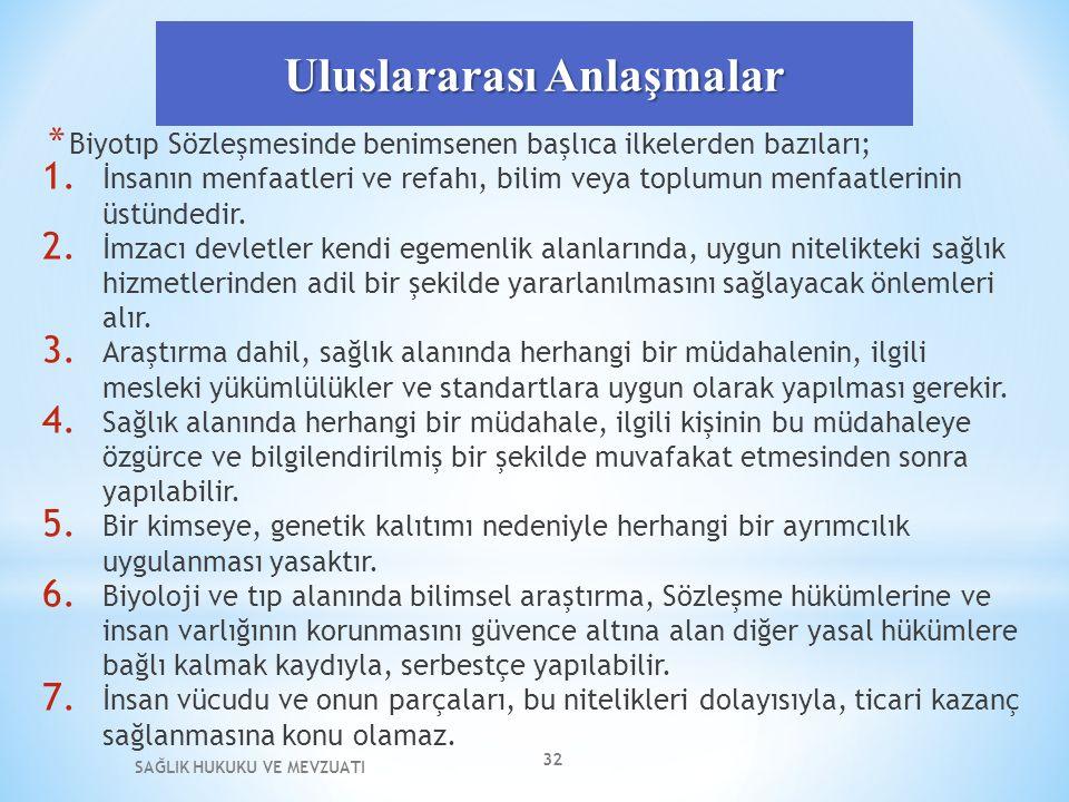 Uluslararası Anlaşmalar * Biyotıp Sözleşmesinde benimsenen başlıca ilkelerden bazıları; 1.