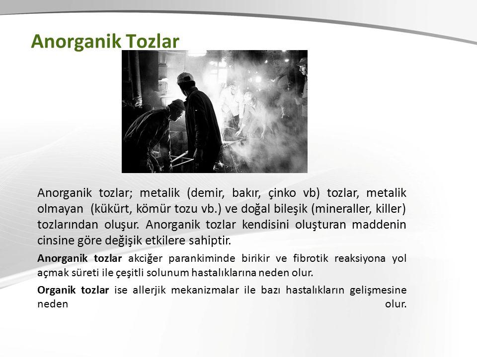 Anorganik Tozlar Anorganik tozlar; metalik (demir, bakır, çinko vb) tozlar, metalik olmayan (kükürt, kömür tozu vb.) ve doğal bileşik (mineraller, killer) tozlarından oluşur.