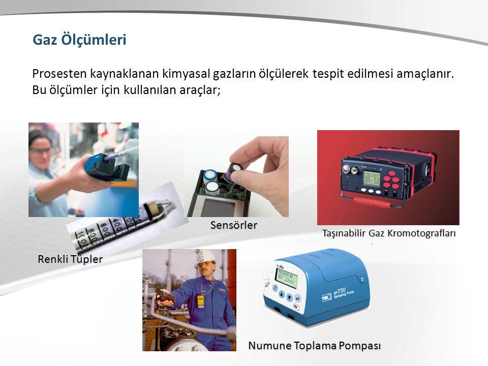 Gaz Ölçümleri Prosesten kaynaklanan kimyasal gazların ölçülerek tespit edilmesi amaçlanır.