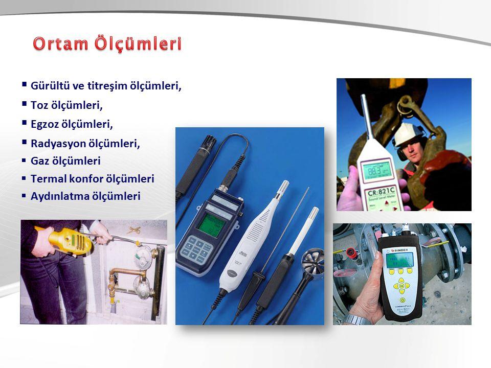  Gürültü ve titreşim ölçümleri,  Toz ölçümleri,  Egzoz ölçümleri,  Radyasyon ölçümleri,  Gaz ölçümleri  Termal konfor ölçümleri  Aydınlatma ölçümleri