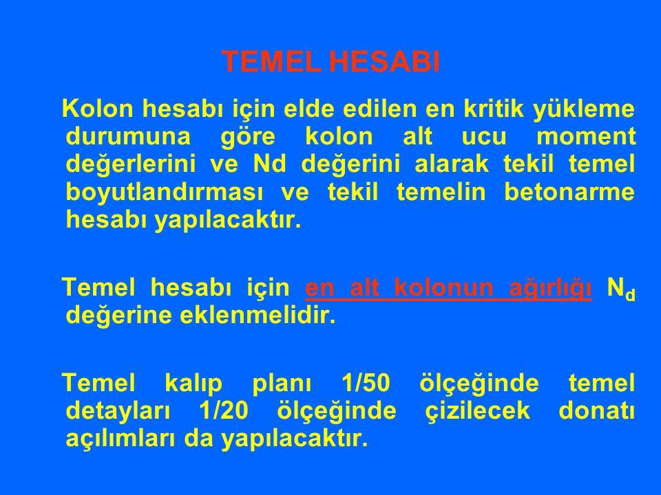 TEMEL HESABI Kolon hesabı için elde edilen en kritik yükleme durumuna göre kolon alt ucu moment değerlerini ve Nd değerini alarak tekil temel boyutlan