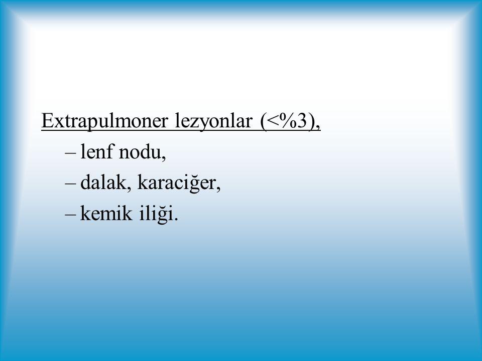 Extrapulmoner lezyonlar (<%3), –lenf nodu, –dalak, karaciğer, –kemik iliği.