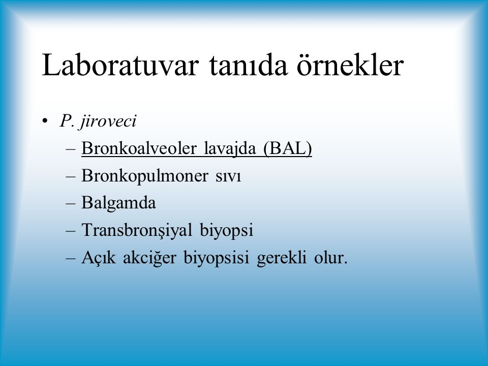 Laboratuvar tanıda örnekler P.