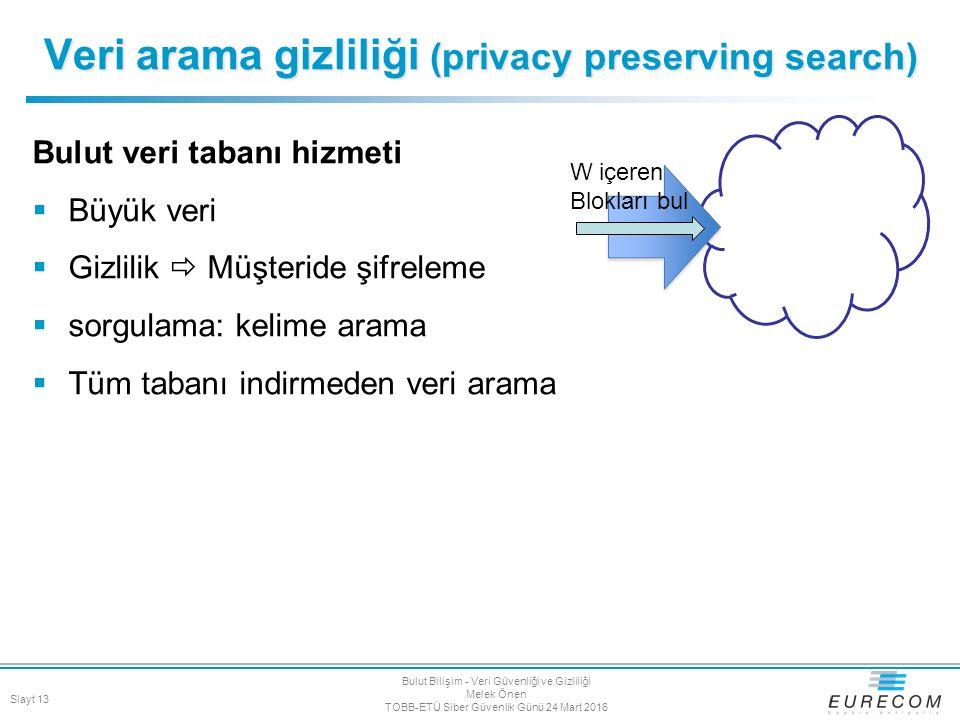 Bulut veri tabanı hizmeti  Büyük veri  Gizlilik  Müşteride şifreleme  sorgulama: kelime arama  Tüm tabanı indirmeden veri arama Veri arama gizlil