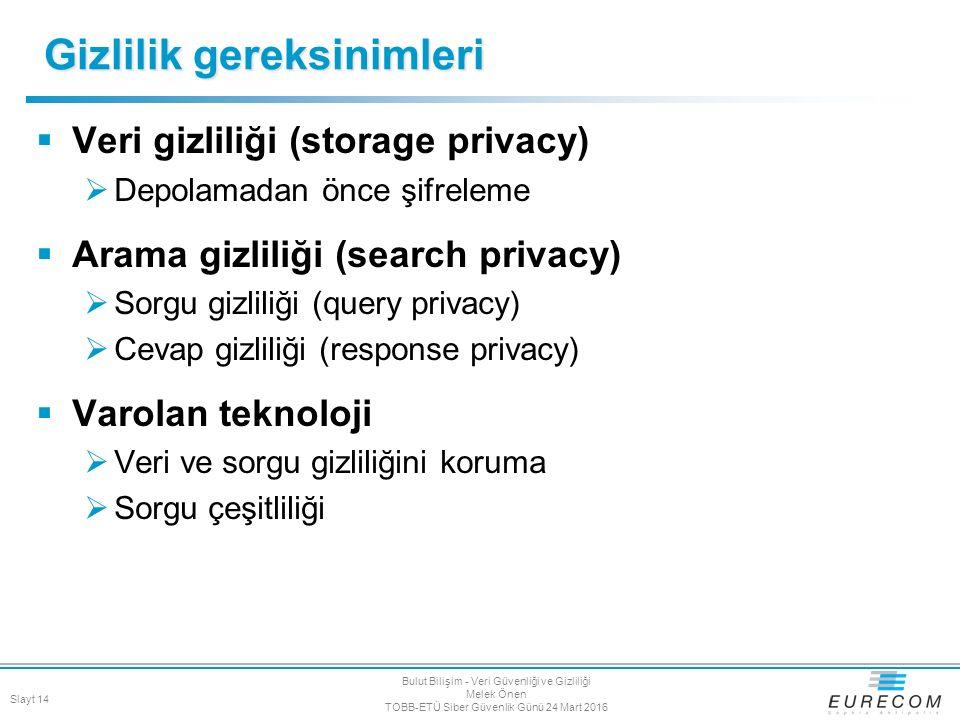  Veri gizliliği (storage privacy)  Depolamadan önce şifreleme  Arama gizliliği (search privacy)  Sorgu gizliliği (query privacy)  Cevap gizliliği