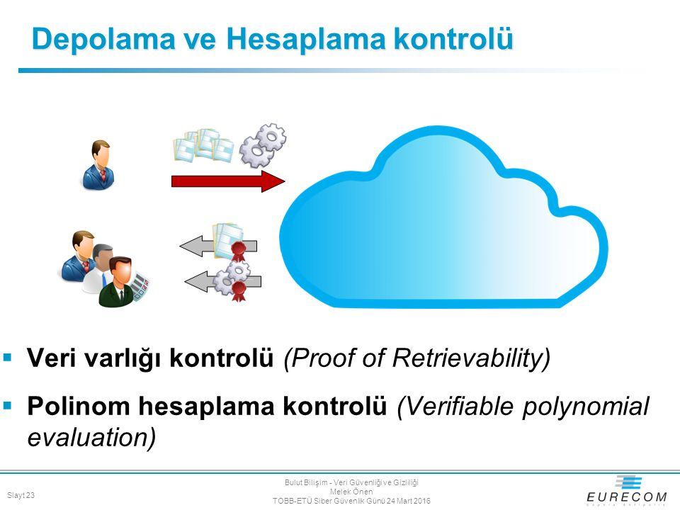 Depolama ve Hesaplama kontrolü  Veri varlığı kontrolü (Proof of Retrievability)  Polinom hesaplama kontrolü (Verifiable polynomial evaluation) Slayt