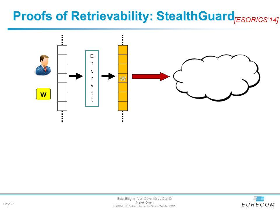 Proofs of Retrievability: StealthGuard w w w [ESORICS'14] Slayt 25 Bulut Bilişim - Veri Güvenliği ve Gizliliği Melek Önen TOBB-ETÜ Siber Güvenlik Günü