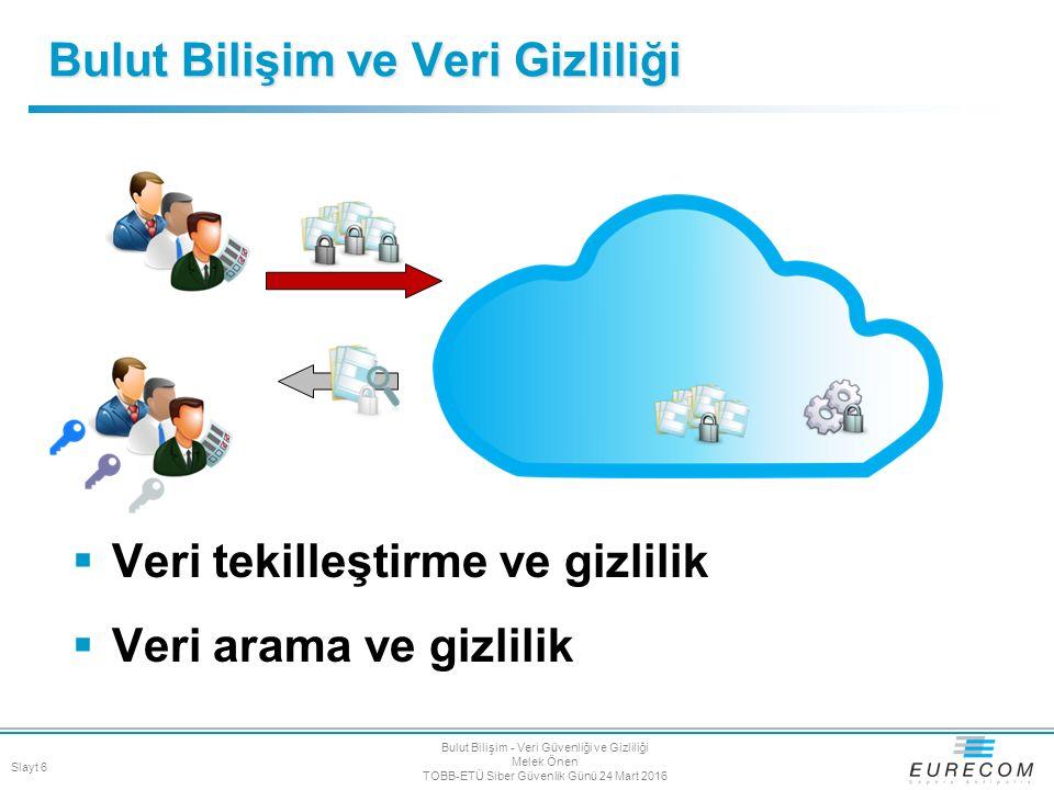 Bulut Bilişim ve Veri Gizliliği  Veri tekilleştirme ve gizlilik  Veri arama ve gizlilik Slayt 6 Bulut Bilişim - Veri Güvenliği ve Gizliliği Melek Ön