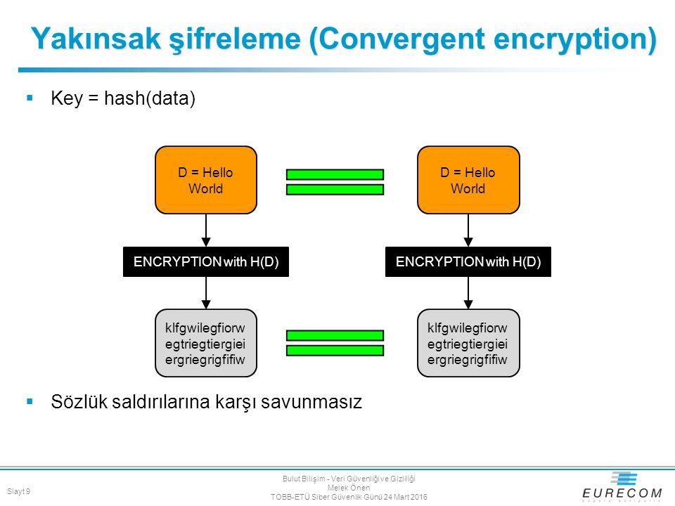  Key = hash(data)  Sözlük saldırılarına karşı savunmasız Yakınsak şifreleme (Convergent encryption) D = Hello World ENCRYPTION with H(D) klfgwilegfi