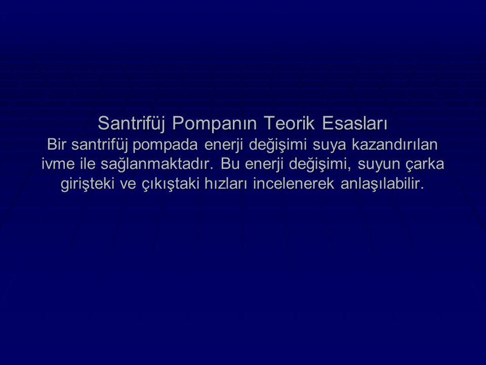 Santrifüj Pompanın Teorik Esasları Bir santrifüj pompada enerji değişimi suya kazandırılan ivme ile sağlanmaktadır.