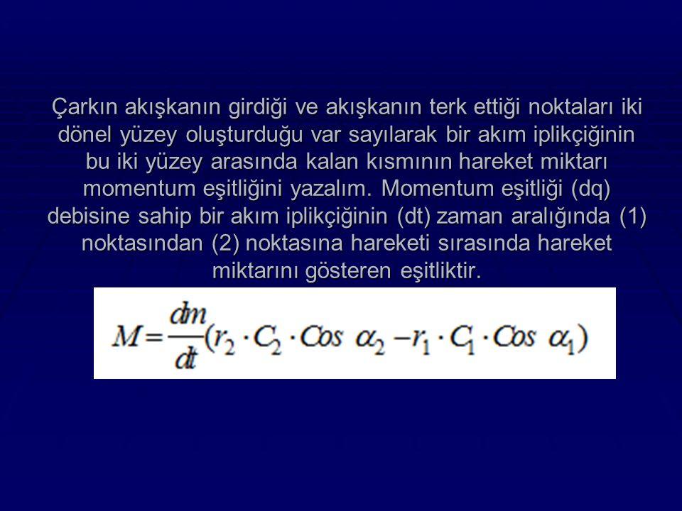 Çarkın akışkanın girdiği ve akışkanın terk ettiği noktaları iki dönel yüzey oluşturduğu var sayılarak bir akım iplikçiğinin bu iki yüzey arasında kalan kısmının hareket miktarı momentum eşitliğini yazalım.
