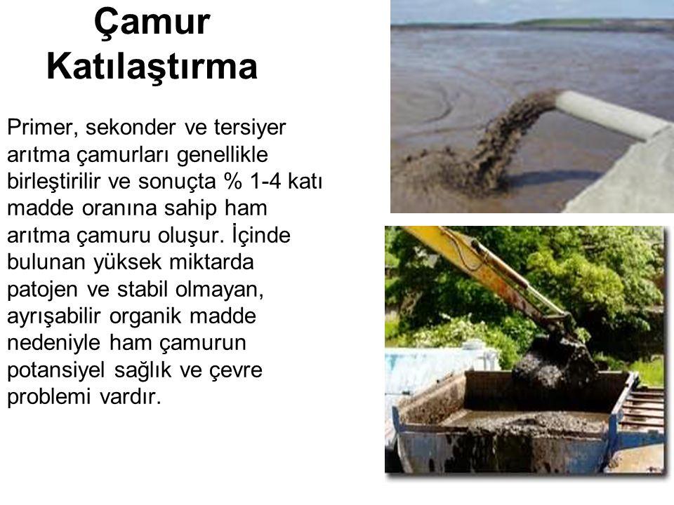 Çamur Katılaştırma Primer, sekonder ve tersiyer arıtma çamurları genellikle birleştirilir ve sonuçta % 1-4 katı madde oranına sahip ham arıtma çamuru oluşur.