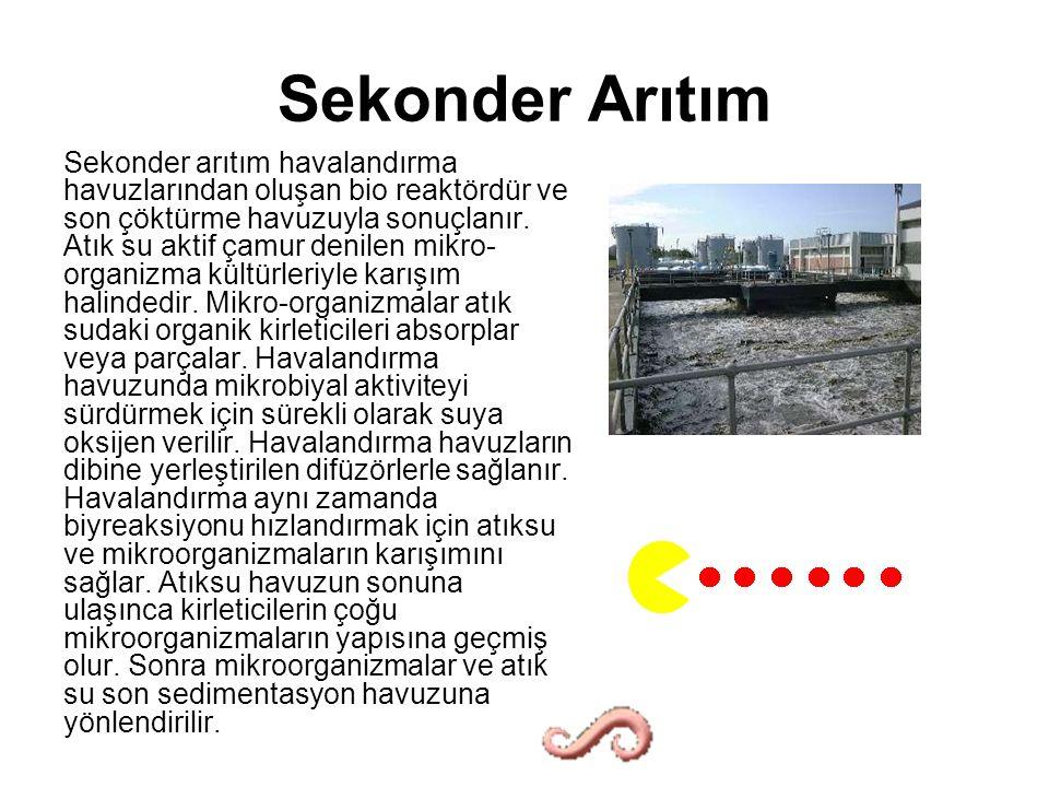 Sekonder Arıtım Sekonder arıtım havalandırma havuzlarından oluşan bio reaktördür ve son çöktürme havuzuyla sonuçlanır.