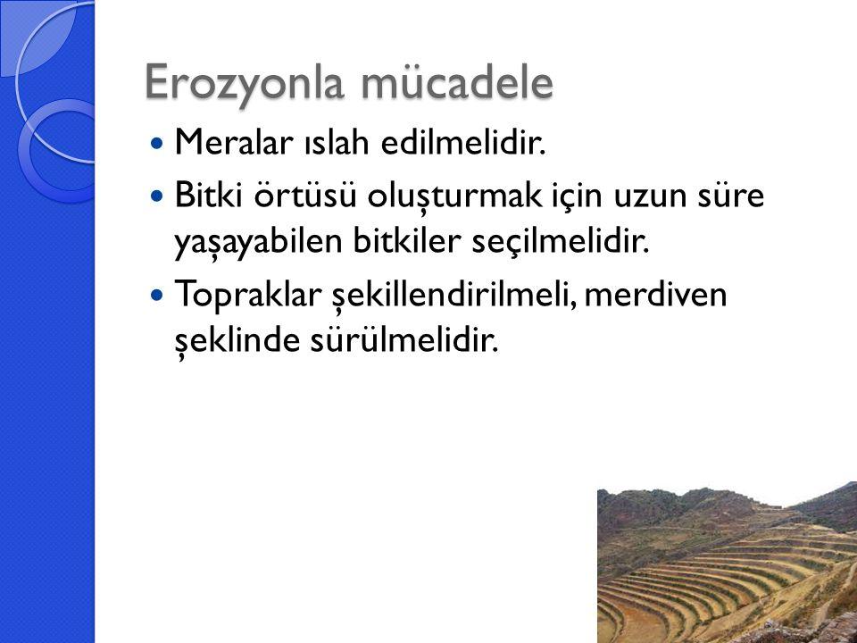 Erozyonla mücadele Meralar ıslah edilmelidir.