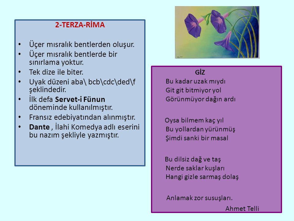 2-TERZA-RİMA Üçer mısralık bentlerden oluşur.Üçer mısralık bentlerde bir sınırlama yoktur.