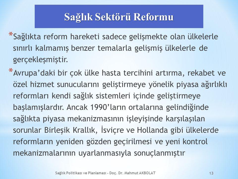 Sağlık Sektörü Reformu * Sağlıkta reform hareketi sadece gelişmekte olan ülkelerle sınırlı kalmamış benzer temalarla gelişmiş ülkelerle de gerçekleşmi