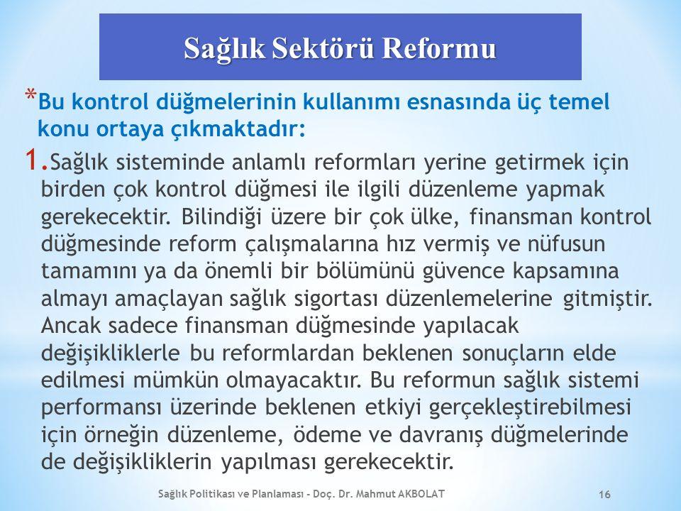Sağlık Sektörü Reformu * Bu kontrol düğmelerinin kullanımı esnasında üç temel konu ortaya çıkmaktadır: 1. Sağlık sisteminde anlamlı reformları yerine