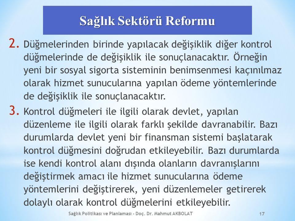 Sağlık Sektörü Reformu 2. Düğmelerinden birinde yapılacak değişiklik diğer kontrol düğmelerinde de değişiklik ile sonuçlanacaktır. Örneğin yeni bir so
