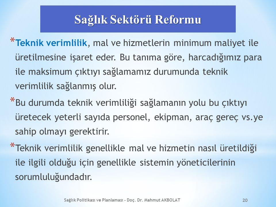 Sağlık Sektörü Reformu * Teknik verimlilik, mal ve hizmetlerin minimum maliyet ile üretilmesine işaret eder. Bu tanıma göre, harcadığımız para ile mak