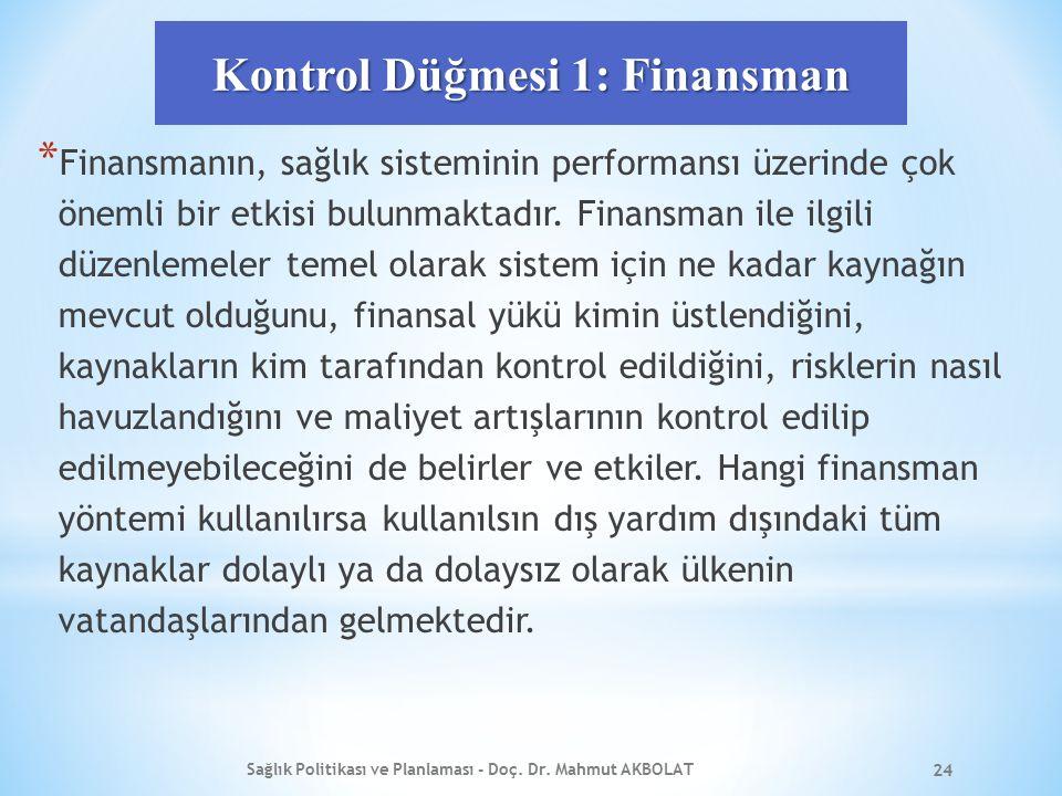 Kontrol Düğmesi 1: Finansman * Finansmanın, sağlık sisteminin performansı üzerinde çok önemli bir etkisi bulunmaktadır. Finansman ile ilgili düzenleme