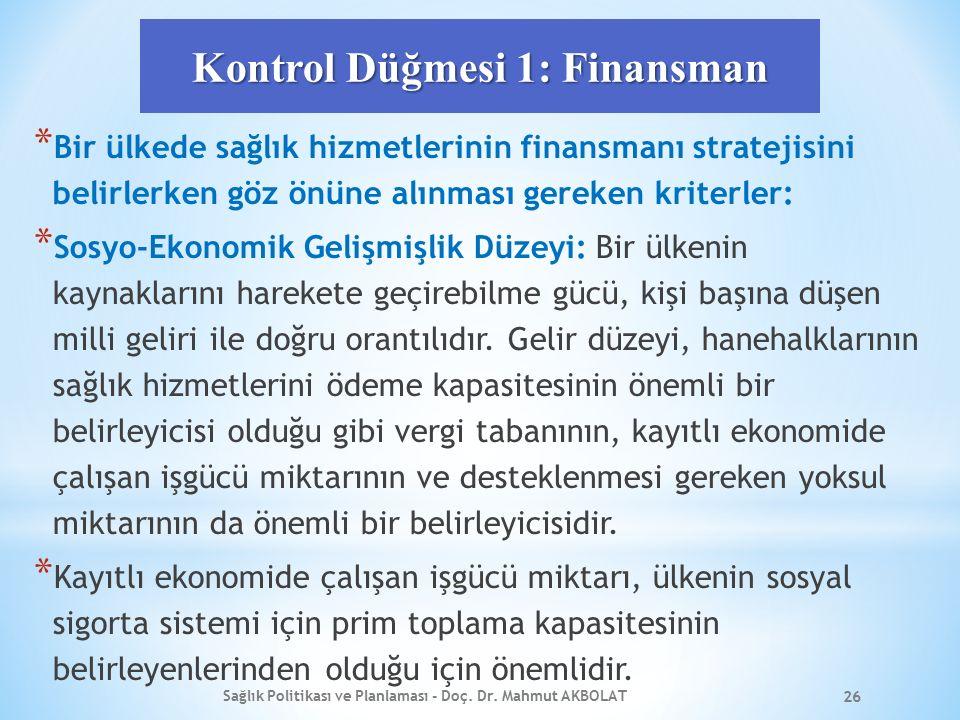 Kontrol Düğmesi 1: Finansman * Bir ülkede sağlık hizmetlerinin finansmanı stratejisini belirlerken göz önüne alınması gereken kriterler: * Sosyo-Ekono