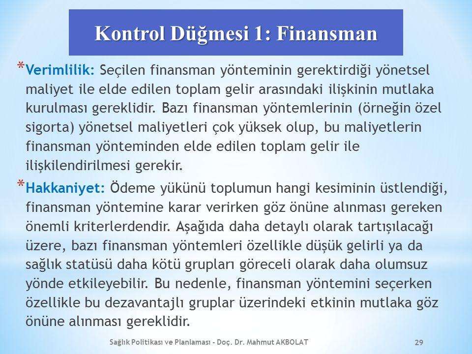 Kontrol Düğmesi 1: Finansman * Verimlilik: Seçilen finansman yönteminin gerektirdiği yönetsel maliyet ile elde edilen toplam gelir arasındaki ilişkini