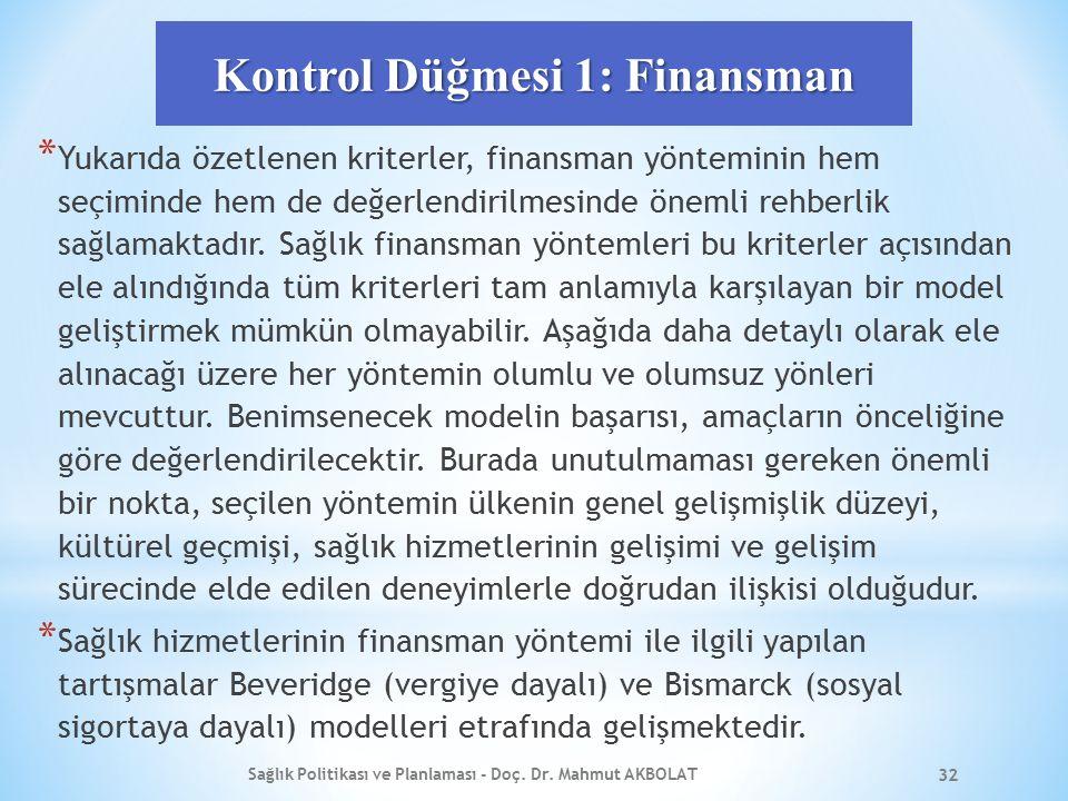 Kontrol Düğmesi 1: Finansman * Yukarıda özetlenen kriterler, finansman yönteminin hem seçiminde hem de değerlendirilmesinde önemli rehberlik sağlamaktadır.