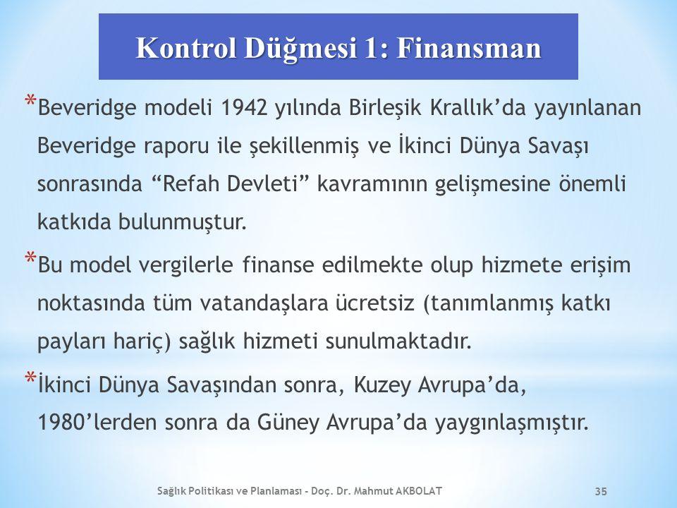 Kontrol Düğmesi 1: Finansman * Beveridge modeli 1942 yılında Birleşik Krallık'da yayınlanan Beveridge raporu ile şekillenmiş ve İkinci Dünya Savaşı sonrasında Refah Devleti kavramının gelişmesine önemli katkıda bulunmuştur.