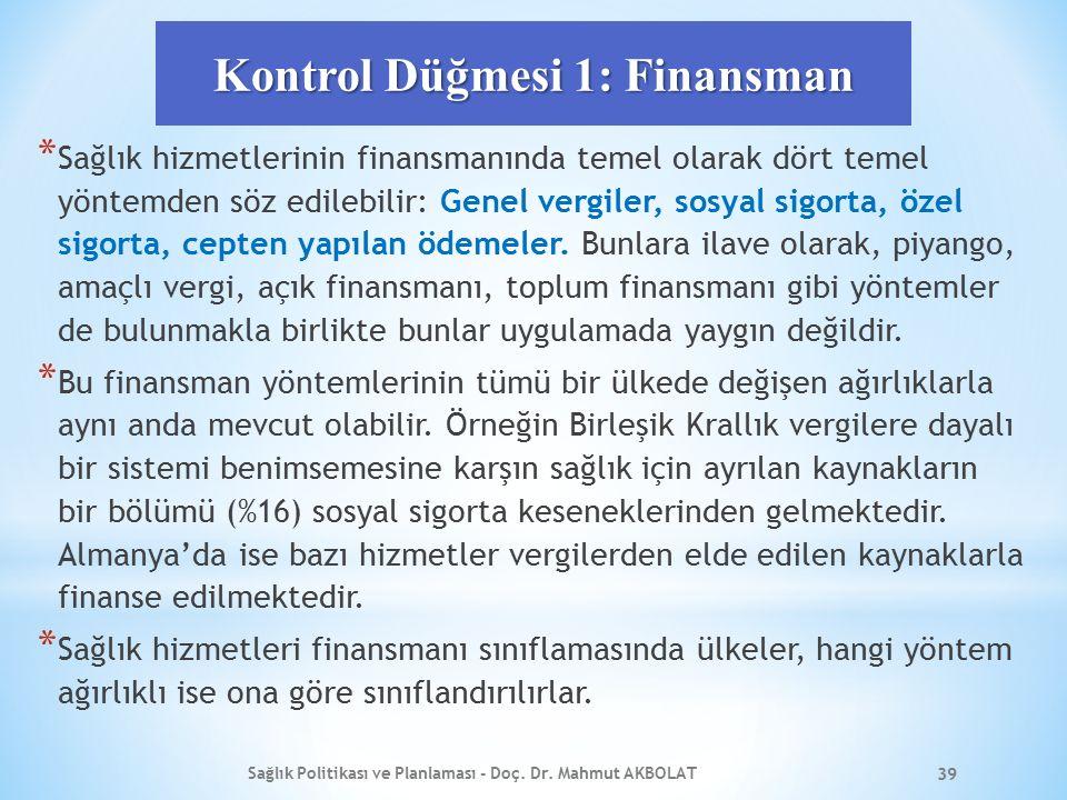 Kontrol Düğmesi 1: Finansman * Sağlık hizmetlerinin finansmanında temel olarak dört temel yöntemden söz edilebilir: Genel vergiler, sosyal sigorta, özel sigorta, cepten yapılan ödemeler.