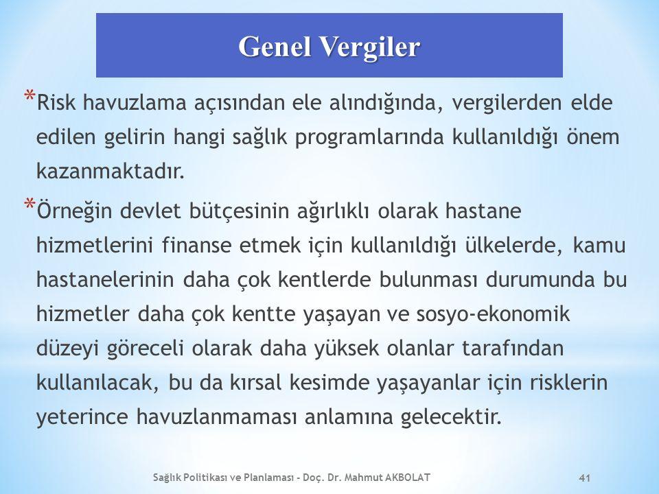 Genel Vergiler * Risk havuzlama açısından ele alındığında, vergilerden elde edilen gelirin hangi sağlık programlarında kullanıldığı önem kazanmaktadır