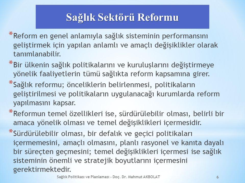Sağlık Sektörü Reformu * Reform en genel anlamıyla sağlık sisteminin performansını geliştirmek için yapılan anlamlı ve amaçlı değişiklikler olarak tan