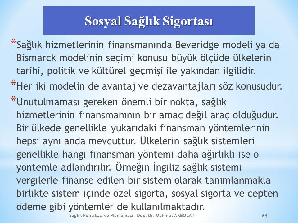 Sosyal Sağlık Sigortası * Sağlık hizmetlerinin finansmanında Beveridge modeli ya da Bismarck modelinin seçimi konusu büyük ölçüde ülkelerin tarihi, politik ve kültürel geçmişi ile yakından ilgilidir.
