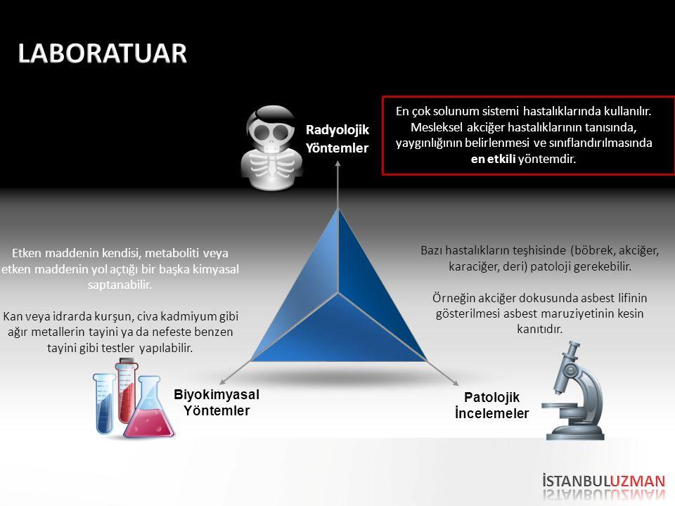 Radyolojik Yöntemler Biyokimyasal Yöntemler Patolojik İncelemeler En çok solunum sistemi hastalıklarında kullanılır. Mesleksel akciğer hastalıklarının