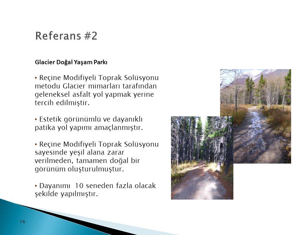 16 Glacier Doğal Yaşam Parkı Reçine Modifiyeli Toprak Solüsyonu metodu Glacier mimarları tarafından geleneksel asfalt yol yapmak yerine tercih edilmiş