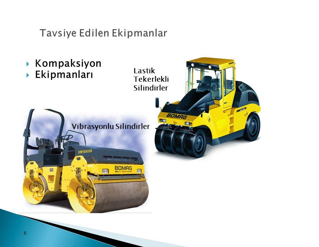  Kompaksiyon  Ekipmanları 8 Lastik Tekerlekli Silindirler Vibrasyonlu Silindirler