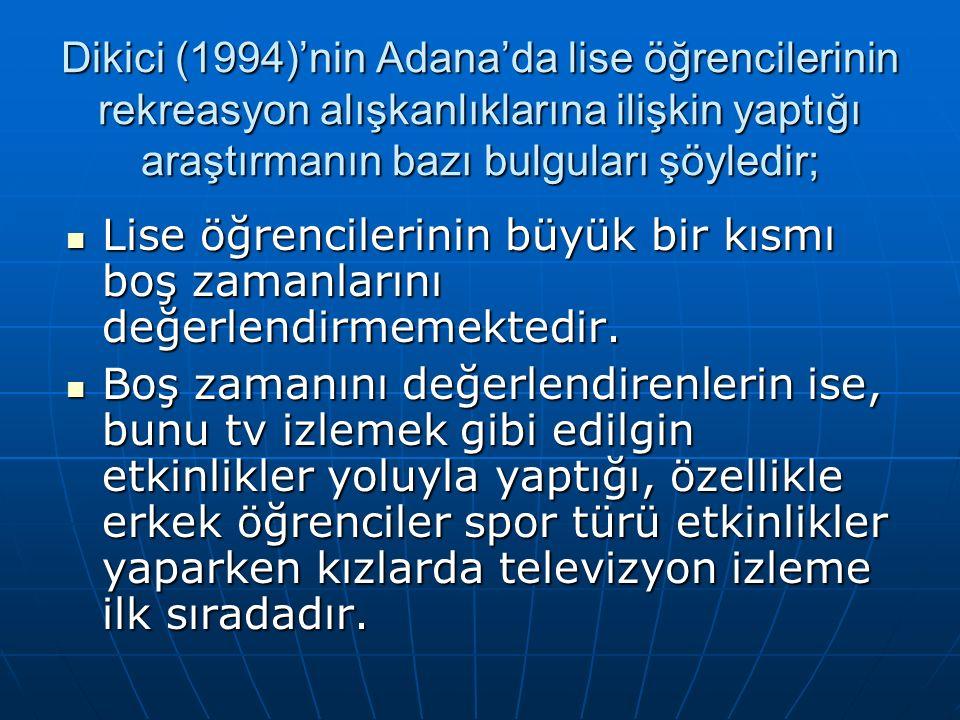 Dikici (1994)'nin Adana'da lise öğrencilerinin rekreasyon alışkanlıklarına ilişkin yaptığı araştırmanın bazı bulguları şöyledir; Lise öğrencilerinin büyük bir kısmı boş zamanlarını değerlendirmemektedir.