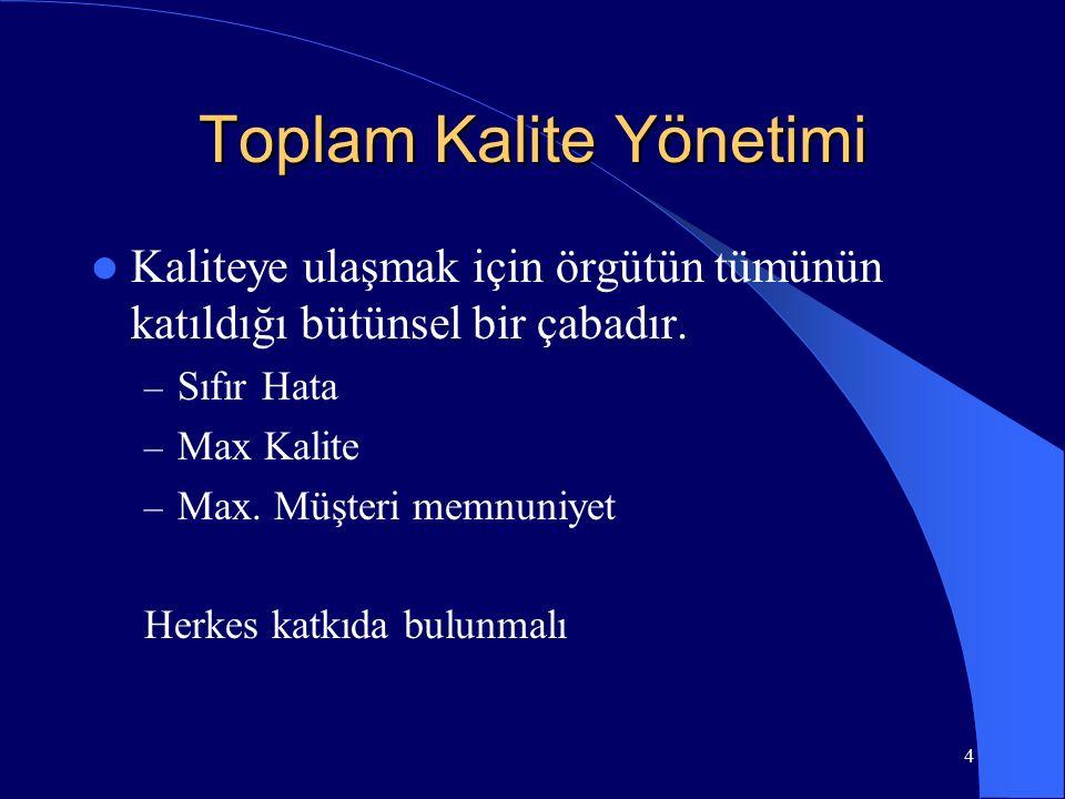 Toplam Kalite Yönetimi Kaliteye ulaşmak için örgütün tümünün katıldığı bütünsel bir çabadır.