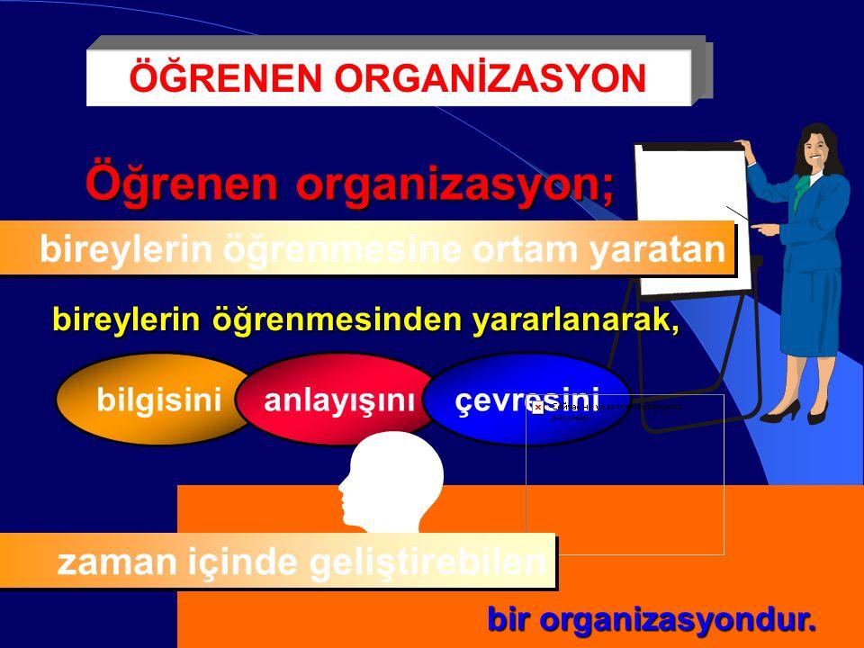 Öğrenen organizasyon; bireylerin öğrenmesine ortam yaratan bireylerin öğrenmesinden yararlanarak, bilgisinianlayışınıçevresini bir organizasyondur.